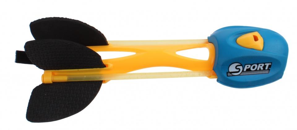 Johntoy trek en werppijl met fluit 23 cm geel/blauw