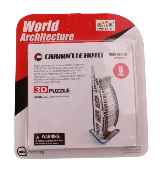 Jonotoys 3D Puzzel Caravelle Hotel klein 6 delig wit