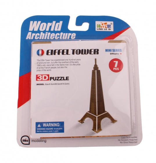 Jonotoys 3D Puzzel Eiffeltoren klein 6 delig brons