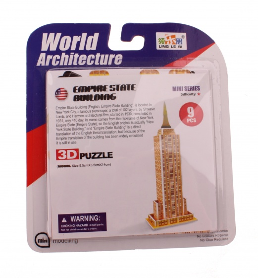 Jonotoys 3D Puzzel Empire State Building klein 6 delig brons