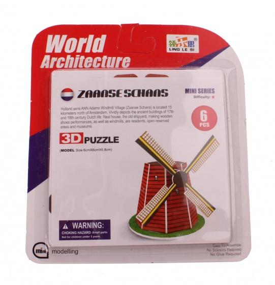 Jonotoys 3D Puzzel molen klein 6 delig rood