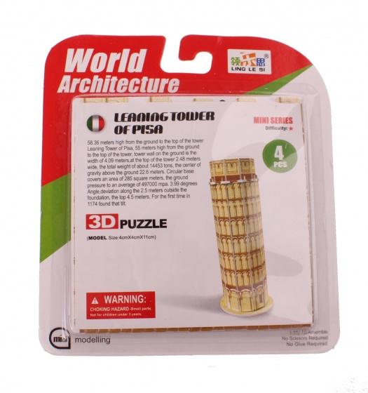 Jonotoys 3D Puzzel toren van Pisa klein 6 delig brons