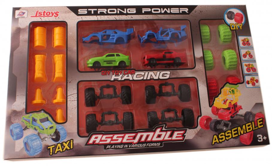 Jonotoys auto bouwset Assemble 24 delig groen-rood
