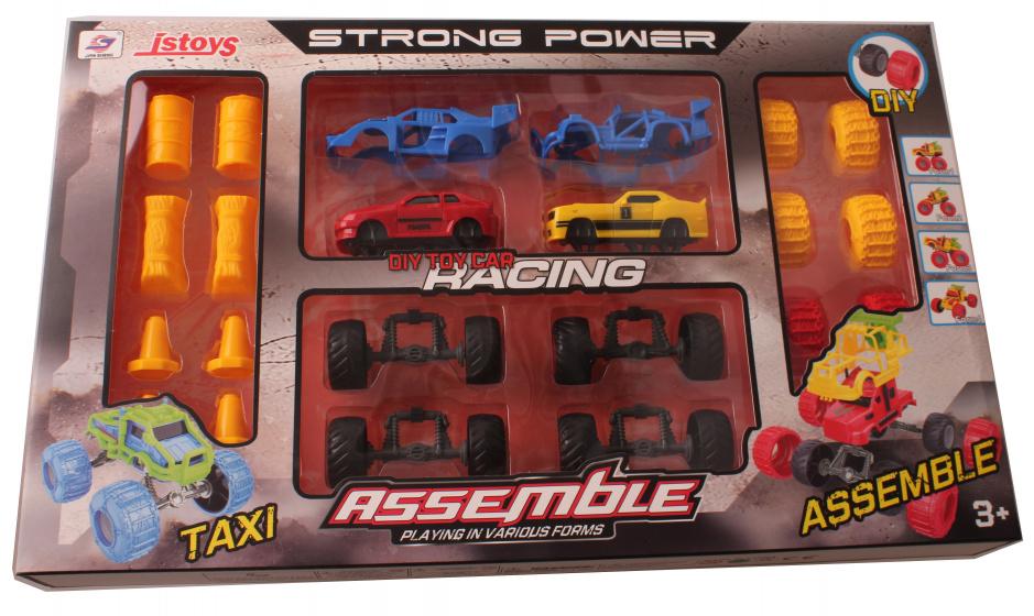 Jonotoys auto bouwset Assemble 24 delig rood-geel