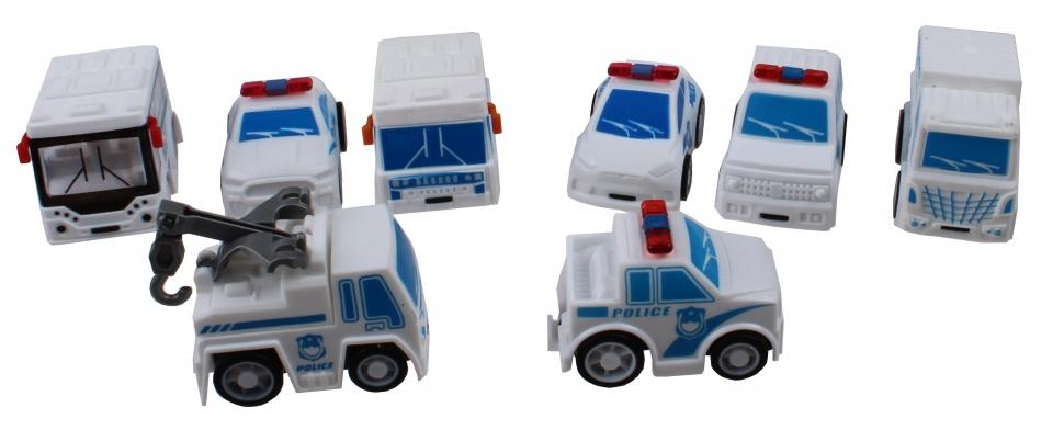 Jonotoys autoset City Police jongens 5 cm wit/blauw 8 delig