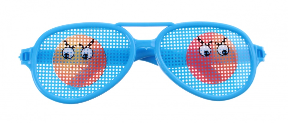 Jonotoys feestbril emoticon blauw