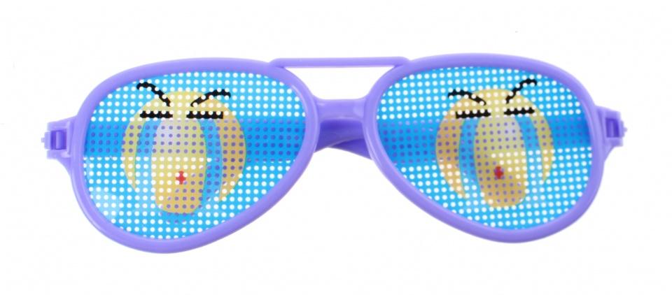 Jonotoys feestbril emoticon paars