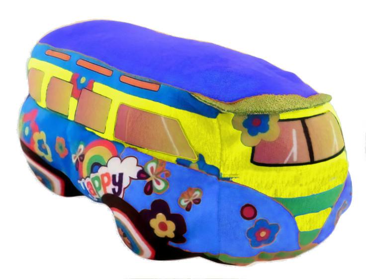 Jonotoys pluchen Happy Bus 25cm blauw