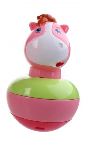 Jonotoys Poly Poly chime nijlpaard roze 15 cm