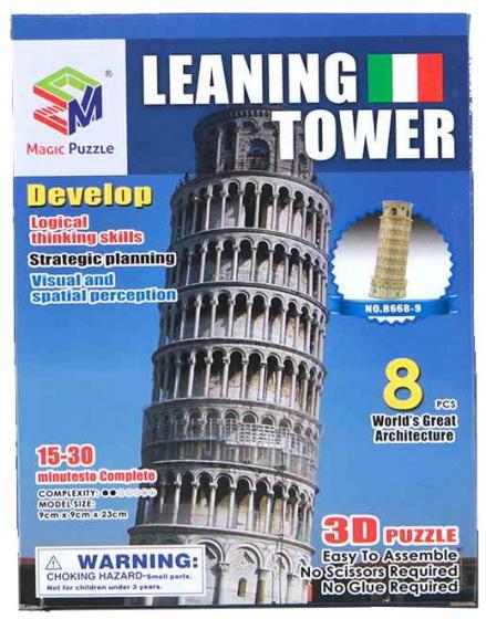Jonotoys puzzel 3D Leaning Tower 8 stukjes bruin