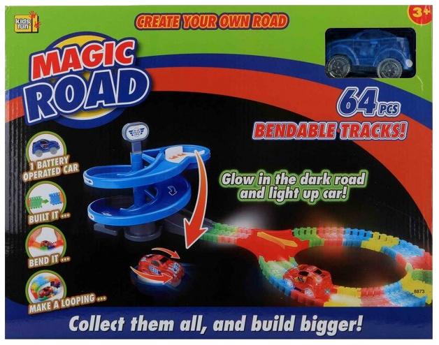 Jonotoys racebaan Magic Road 64 delig blauw