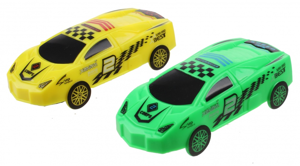 Jonotoys Racing Running Down S auto's 7,5 cm groen/geel 2 delig