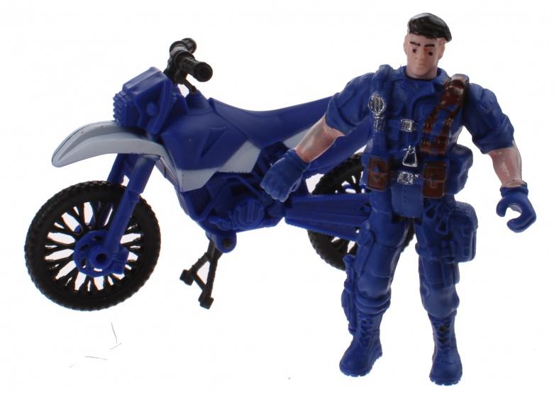 Jonotoys Rescue Team soldaat met motor 9 cm jongens blauw