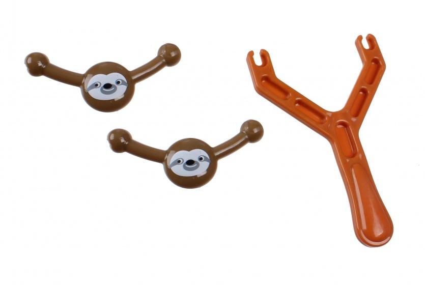 Jonotoys slingshot luiaard katapult S 9 cm bruin
