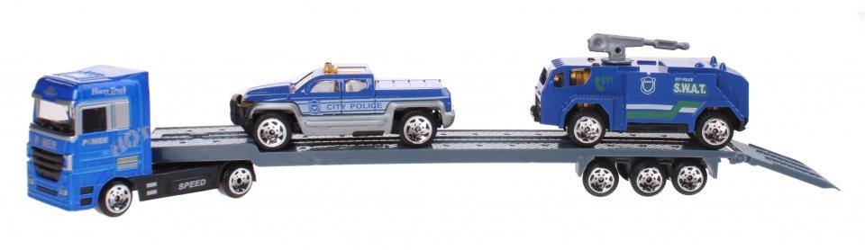Jonotoys speelset transportwagen 3 delig blauw 24 cm