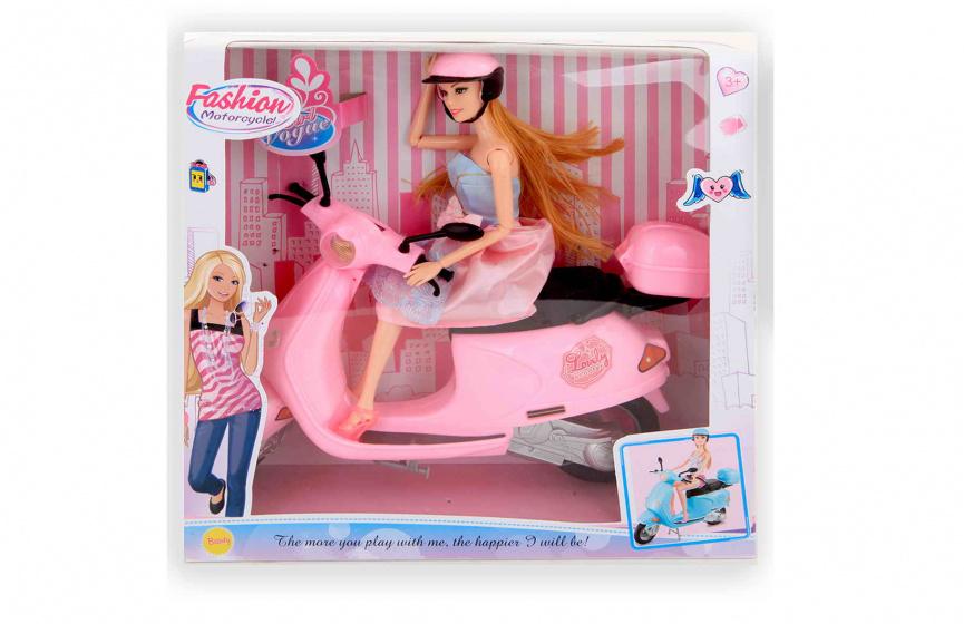 Jonotoys tienerpop Fashion Motorcycle 30,5 cm roze