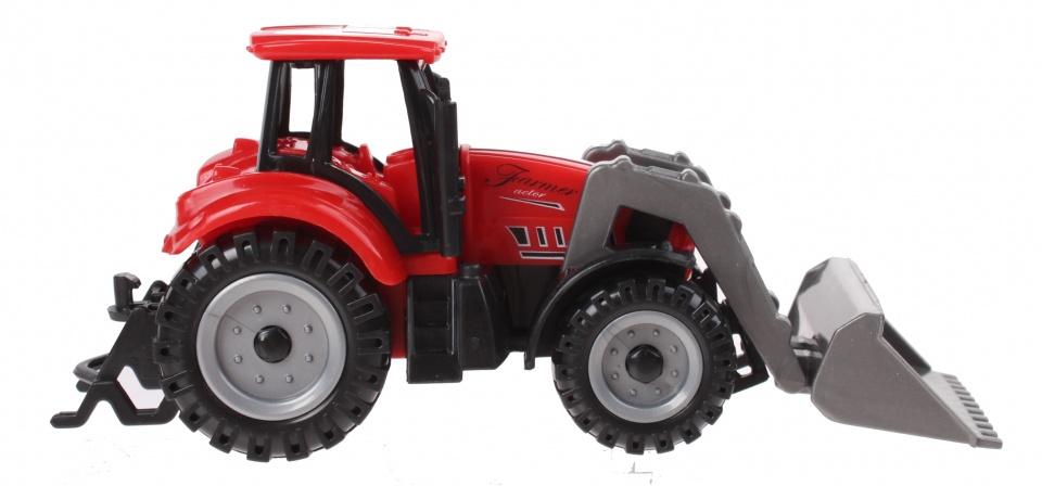 Jonotoys tractor met voorlader 13,5 cm rood