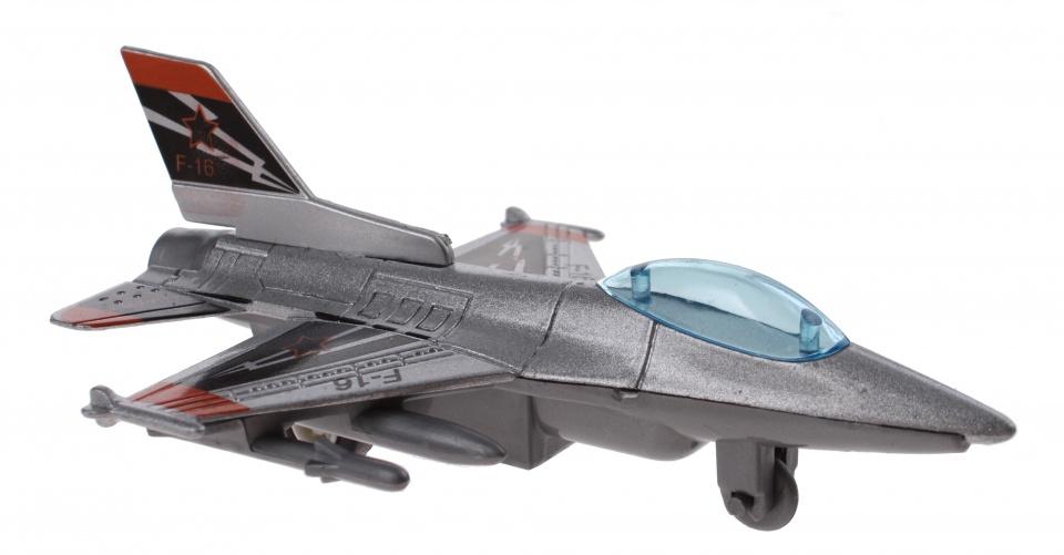 Jonotoys Vliegtuig F16 10 cm grijs