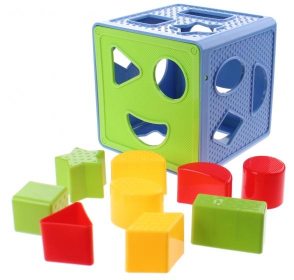 Jonotoys vormenstoof Magical Form Cube 14 cm blauw/groen