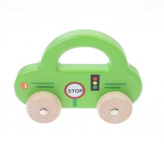 Jouéco houten auto 16 cm groen