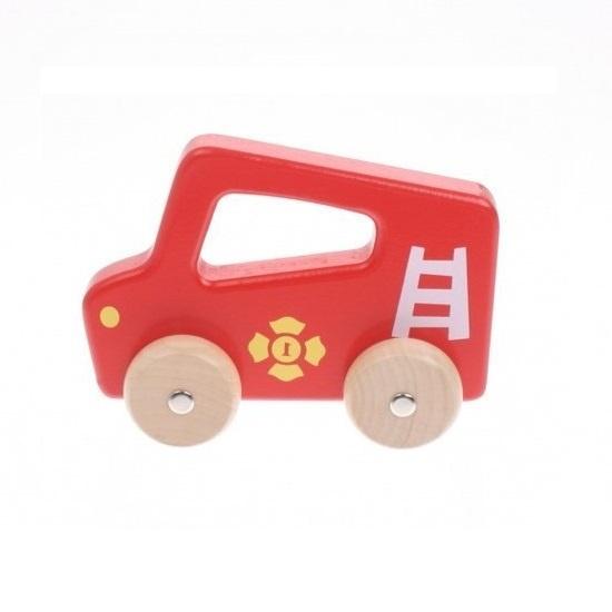 Jouéco houten auto 16 cm rood