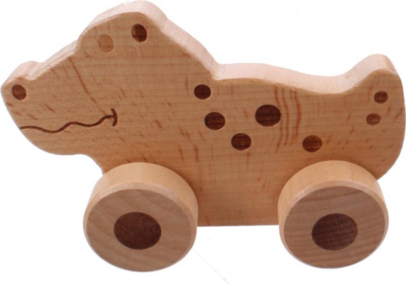 Joueco houten krokodil op wielen