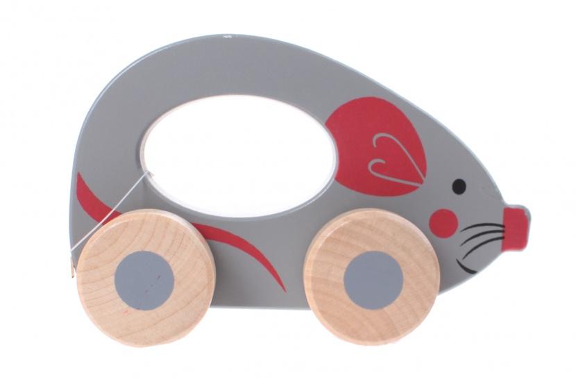 Jouéco rollend dier muis 12 cm grijs