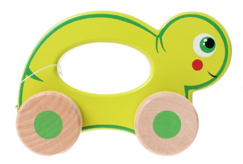 Jouéco rollend dier schildpad 12 cm groen