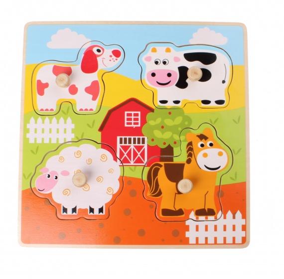 Jouéco vormenpuzzel boerderijdieren 4 stukjes