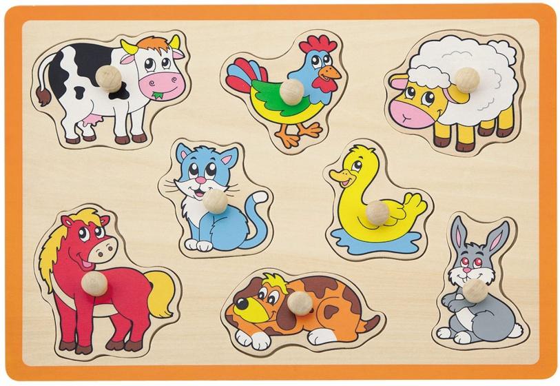Jou�co vormenpuzzel boerderijdieren 8 stukjes oranje