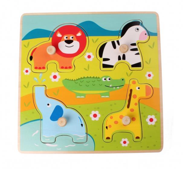 Jouco vormenpuzzel safaridieren 4 stukjes