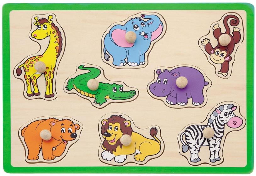 Jouéco vormenpuzzel safaridieren 8 stukjes groen