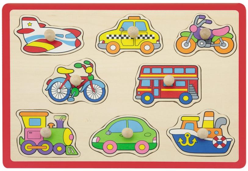 Jouéco vormenpuzzel voertuigen 8 stukjes rood