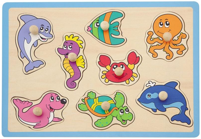 Jouéco vormenpuzzel zeedieren 8 stukjes blauw