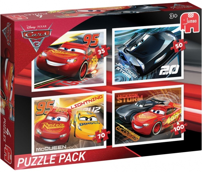 Jumbo Disney Cars legpuzzel 4 puzzels 35 tot 100 stukjes