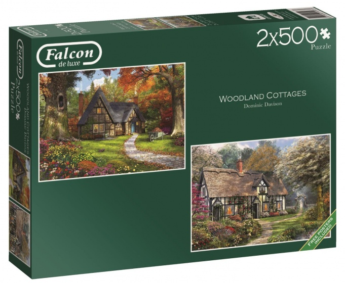 Jumbo Falcon Woodland Cottages 2 puzzels 500 stukjes