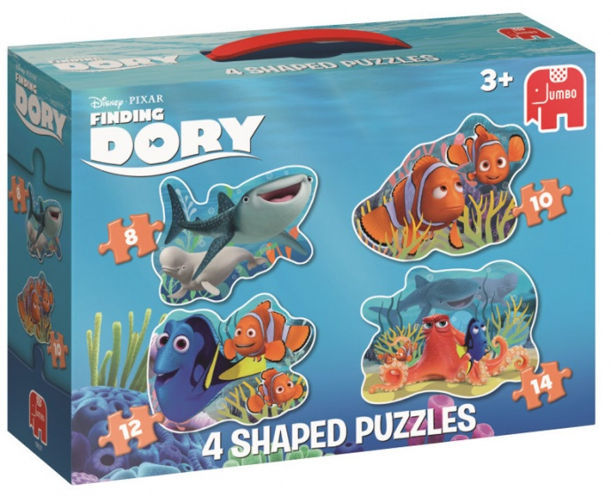 Jumbo Finding Dory vormenpuzzel 4 puzzels 8 tot 14 stukjes