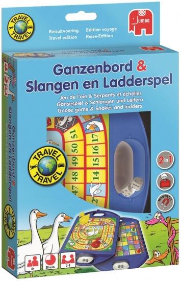 Jumbo Ganzenbord en Slangen En Ladders Reisspel