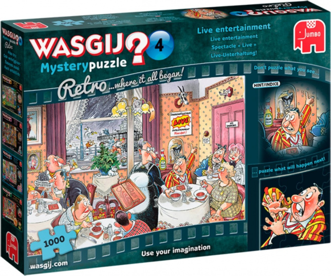 Jumbo puzzel Mistery Retro Wasgij 68 cm blauw 1000 stukjes