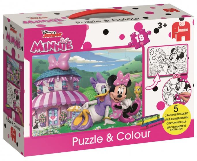 Jumbo Minnie Mouse puzzel & kleur 18 stukjes