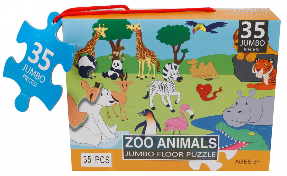 Jumbo vloerpuzzel Zoo Animals 60 x 44 cm 35 stukjes kopen