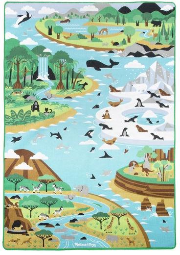 Jumbo wereldreis speelkleed met dieren 200 x 147 cm