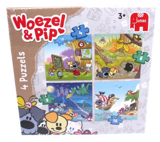 Jumbo Woezel & Pip 4 in 1 puzzel 35 stukjes