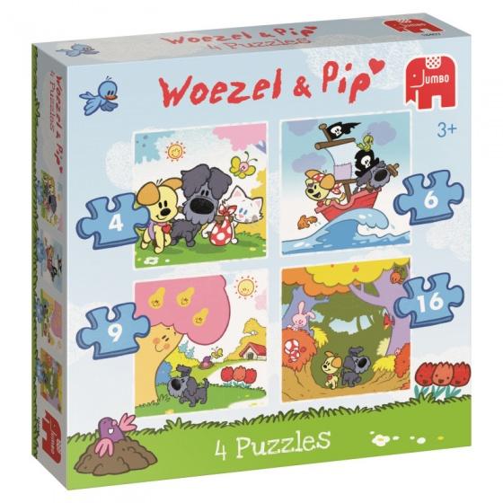 Jumbo Woezel & Pip legpuzzel 4 puzzels 4 tot 16 stukjes