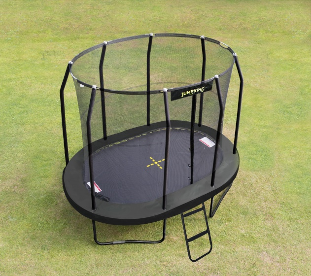 trampoline with net and ladder JumpPod Oval351 x 244 cm black (2016)