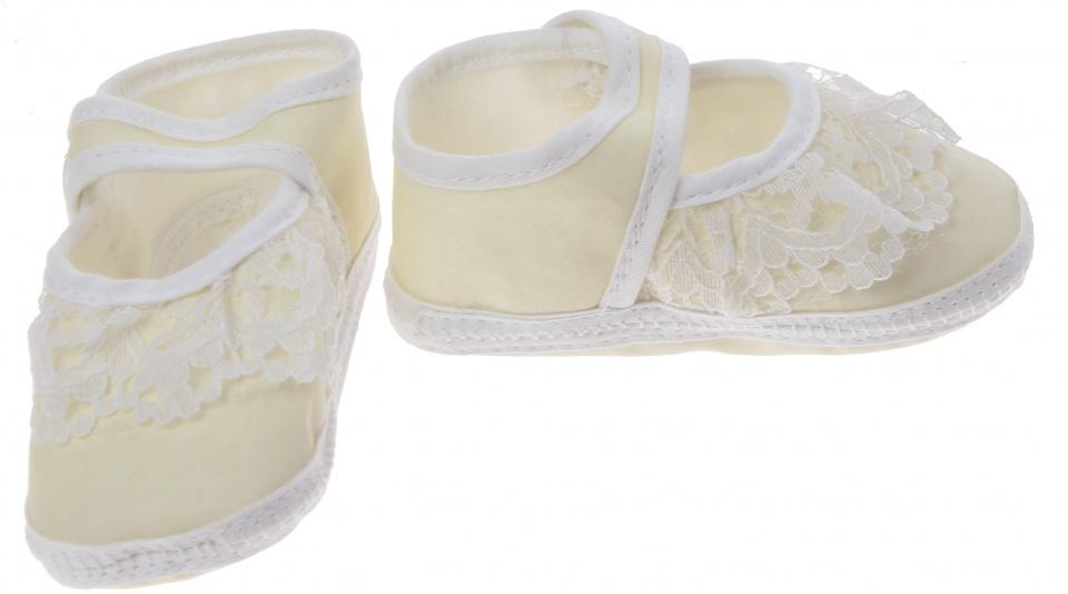 Junior Joy babyschoenen Newborn meisjes geel/wit met kant kopen