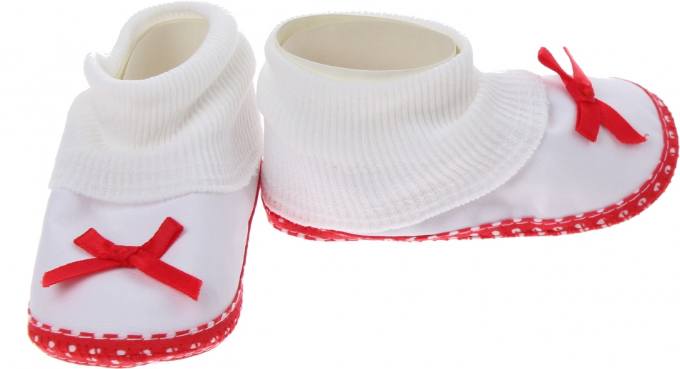 Junior Joy babyschoenen hoog Newborn meisjes wit/rood met strik kopen