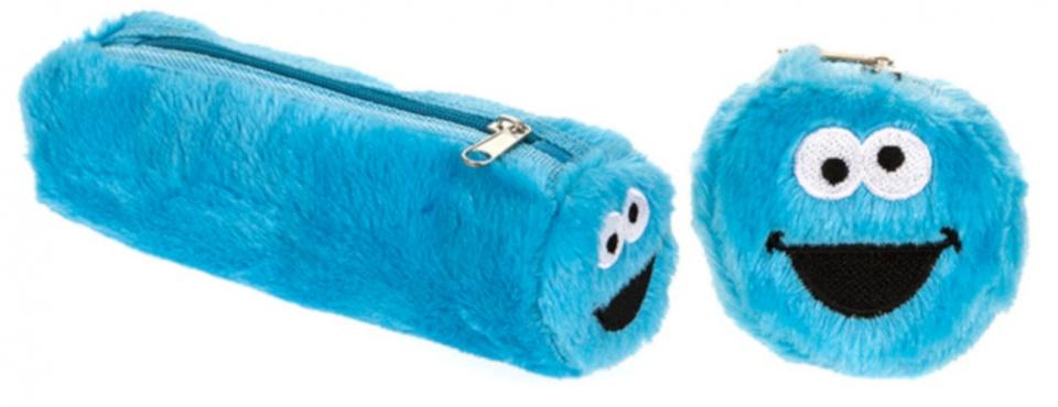 Kamparo fluffy etui Koekiemonster blauw 22x12 cm
