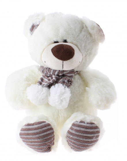 Kamparo knuffelbeer met sjaal 28 cm wit