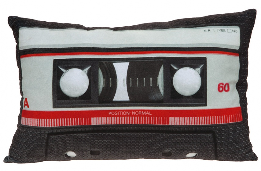 Kamparo kussen cassettebandje zwart 30 x 45 cm